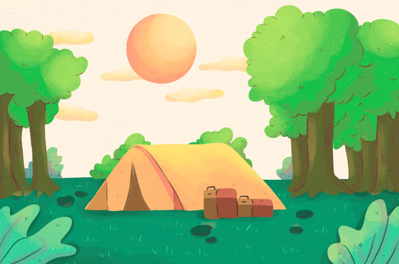可爱的露营景观矢量素材(AI/EPS)