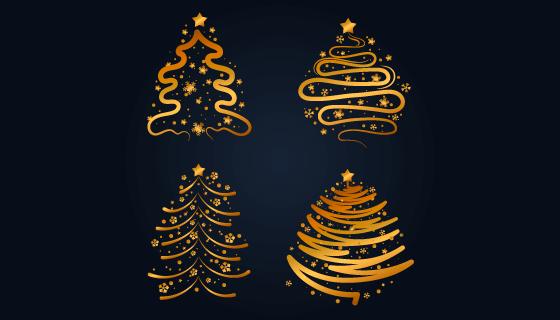 4棵抽象的金色圣诞树矢量素材(AI/EPS/PNG)