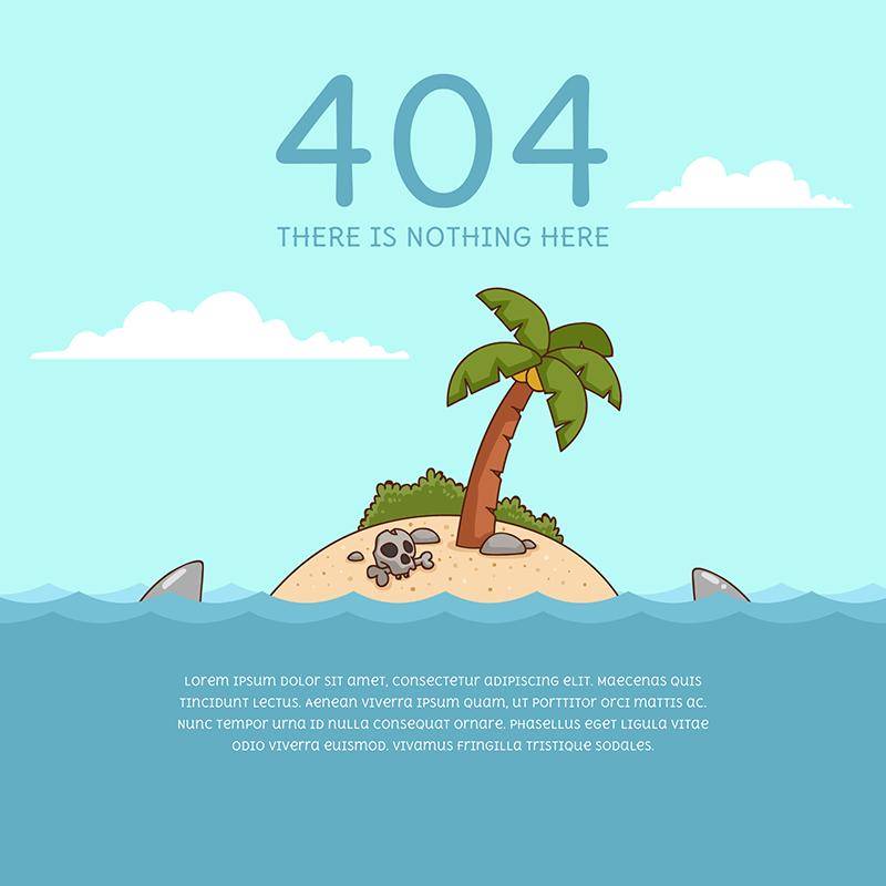 大海孤岛设计404错误页面(EPS/AI)