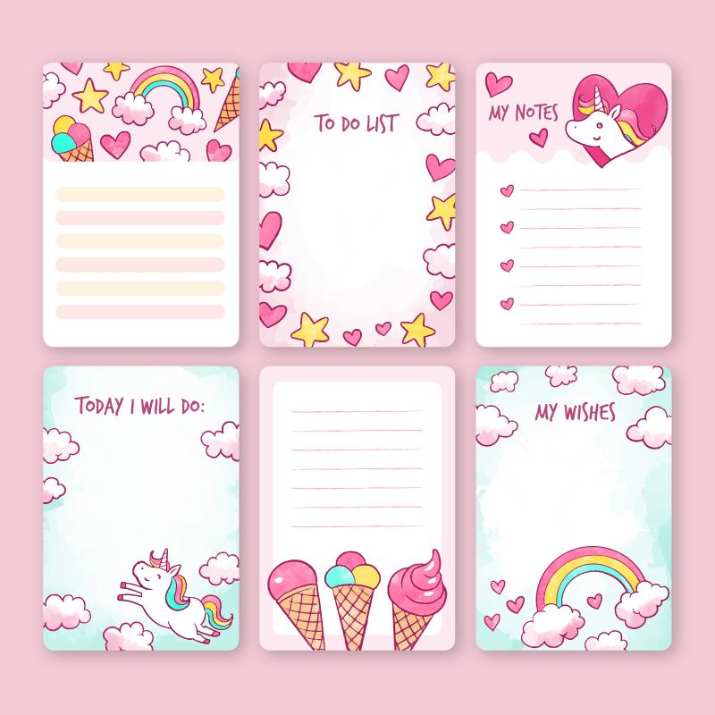 粉色可爱的便签纸矢量素材(AI/EPS/免扣PNG)