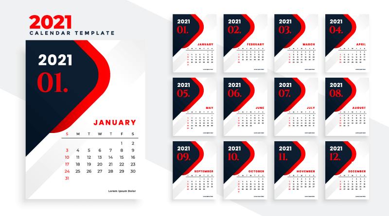 黑红色设计2021年日历矢量素材(EPS)