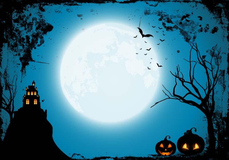 月亮蝙蝠鬼屋设计万圣节背景矢量素材(EPS)