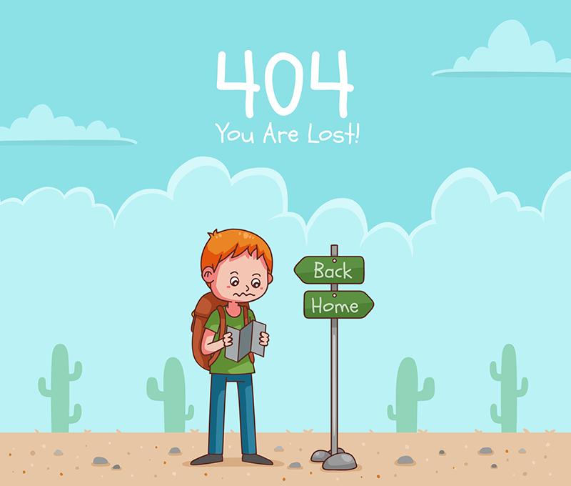 小孩迷路404错误页面设计(EPS/AI)
