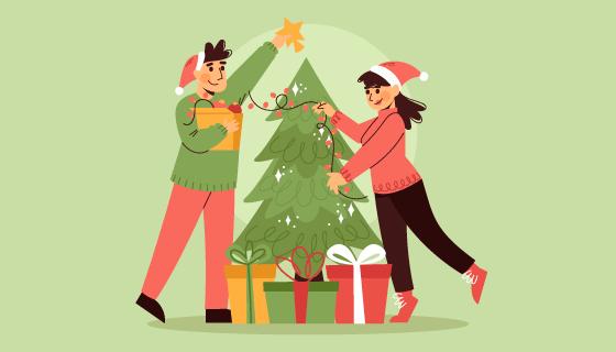 正在装饰圣诞树的人们矢量素材(AI/EPS)
