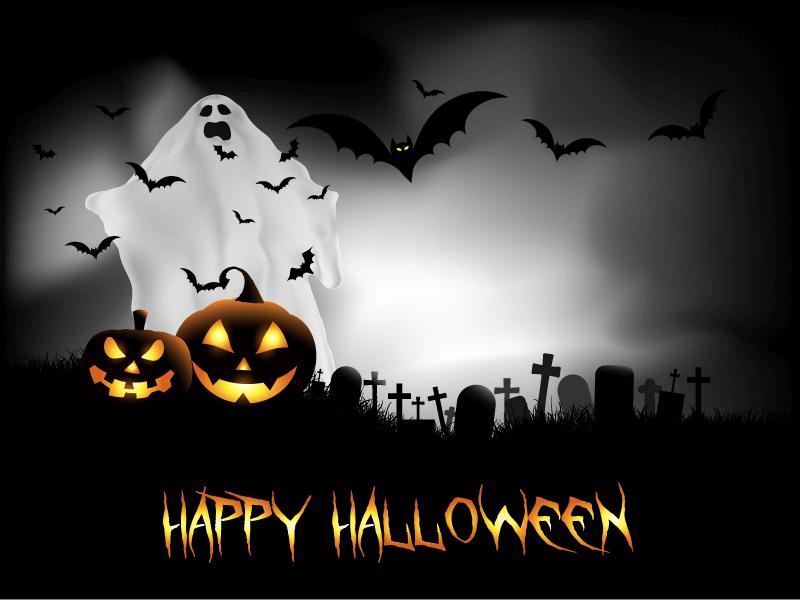 墓地幽灵蝙蝠设计万圣节背景矢量素材(EPS)