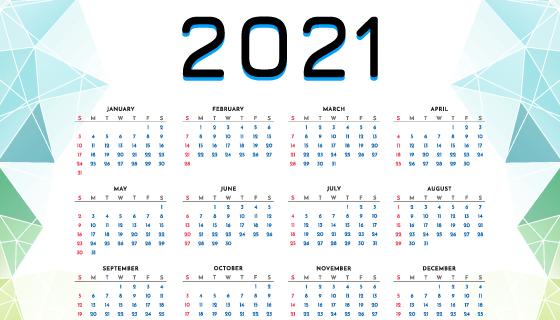 多边形几何设计2021年日历矢量素材(EPS)