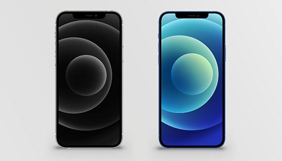 逼真的黑色和蓝色iPhone 12 Pro模型素材(PSD)