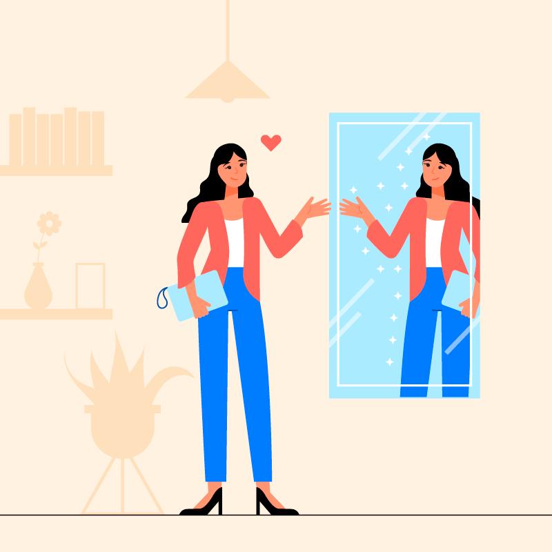 在镜子里欣赏自己的女子插画矢量素材(AI/EPS)