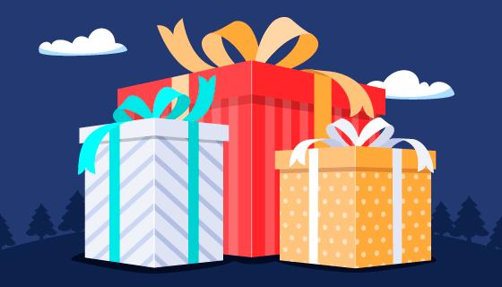 扁平风格的礼物盒子矢量素材(AI/EPS)