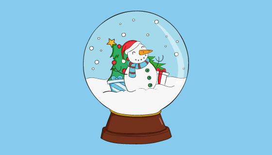 圣诞雪人水晶球矢量素材(AI/EPS/PNG)