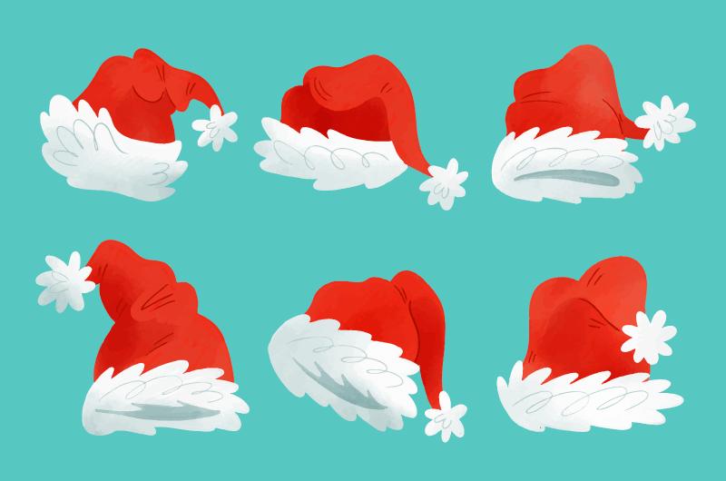 六个水彩风格圣诞老人帽矢量素材(AI/EPS/免扣PNG)