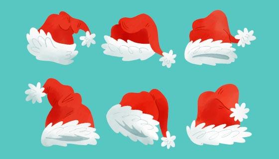 六个水彩风格圣诞老人帽矢量素材(AI/EPS/PNG)