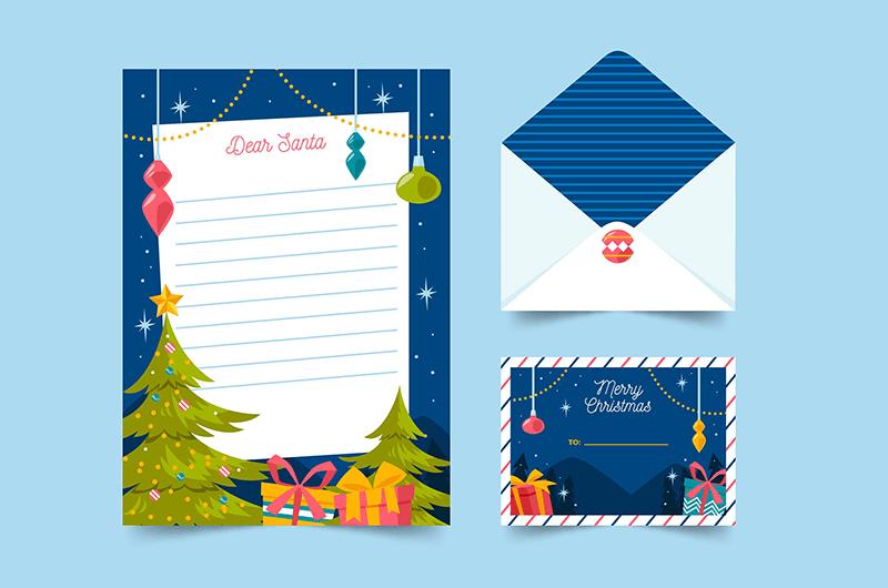 圣诞节信纸信封明信片矢量素材(AI/EPS)