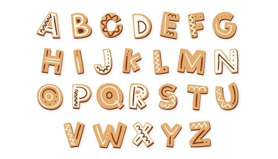 圣诞节姜饼风格英文字母矢量素材(AI/EPS/PNG)