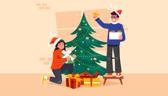 正在装扮圣诞树的人们矢量素材(AI/EPS)