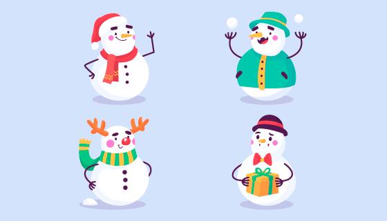 四个不同装扮的雪人矢量素材(AI/EPS/PNG)