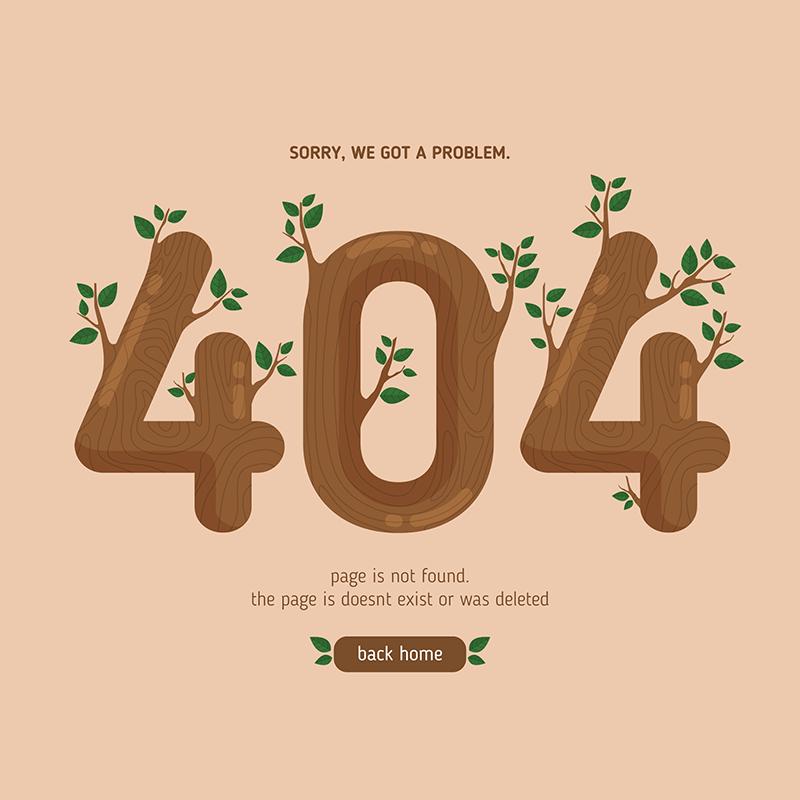 树木枝叶设计404错误页面(EPS/AI)