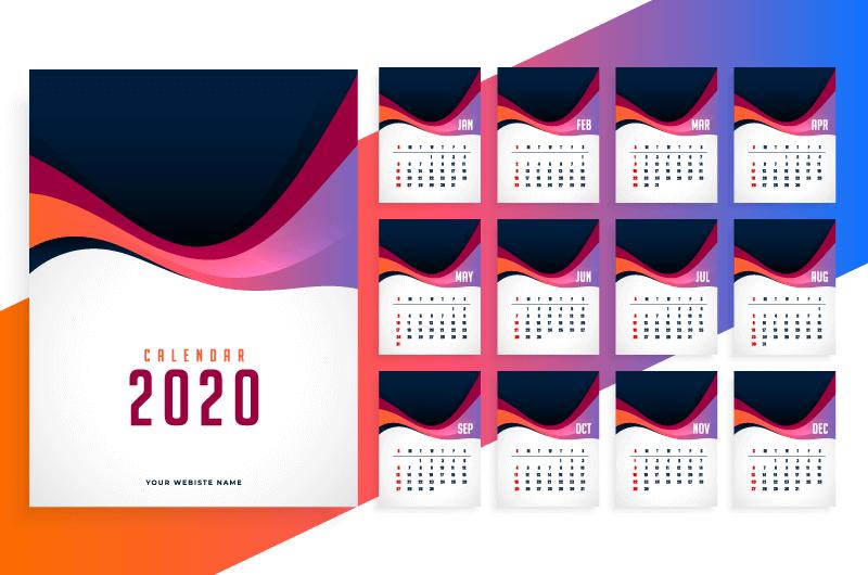 多彩波浪设计2021年日历矢量素材(EPS)