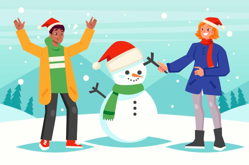 圣诞节堆雪人的男女矢量素材(AI/EPS)