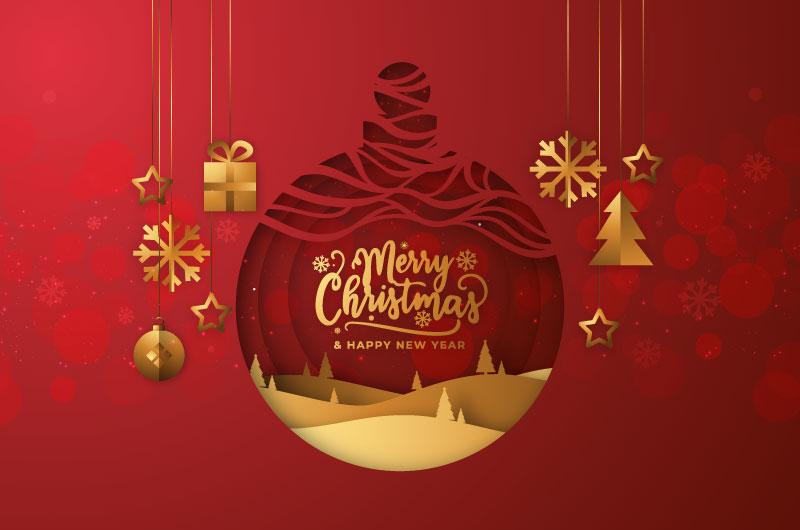 红色圣诞球设计圣诞节背景矢量素材(AI/EPS)