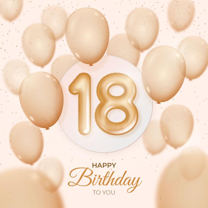 金色气球设计18岁生日快乐背景矢量素材(AI/EPS)