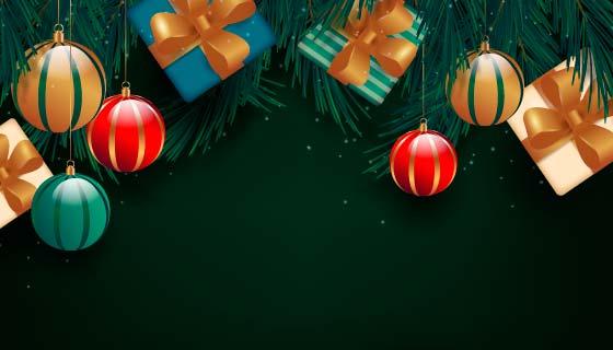 逼真的礼品设计圣诞节背景矢量素材(AI/EPS)