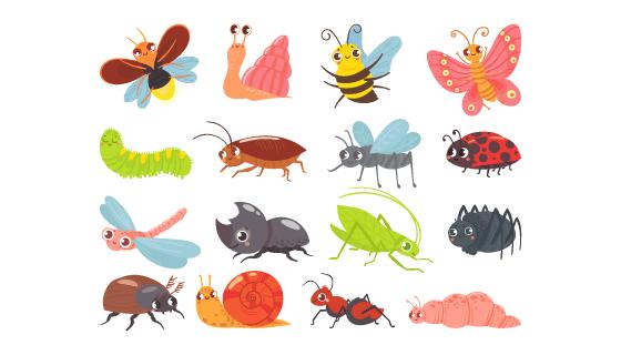 卡通风格的可爱昆虫矢量素材(EPS/PNG)