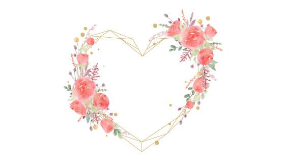漂亮的水彩爱心花环矢量素材(EPS)