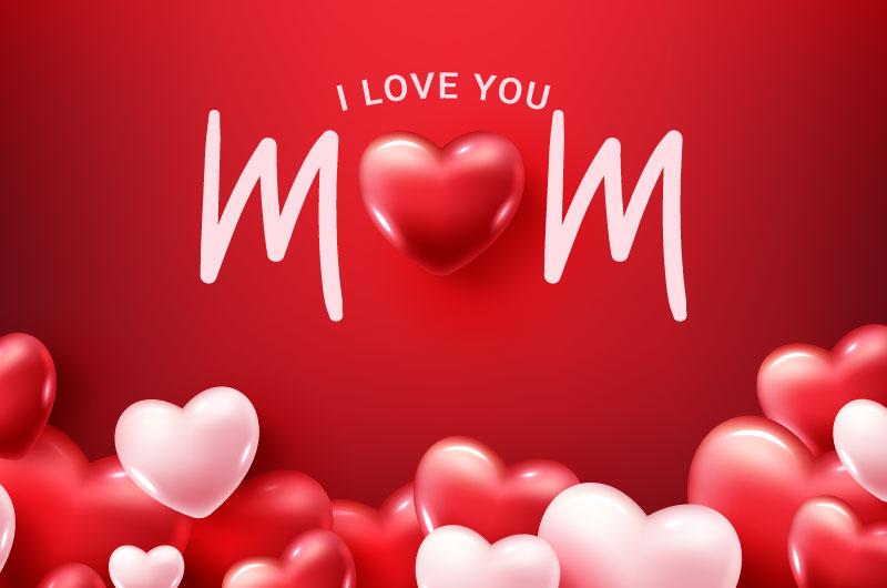 红色粉色爱心设计母亲节快乐背景矢量素材(EPS)