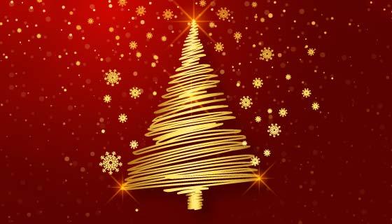 金色线条设计的圣诞树矢量素材(EPS)