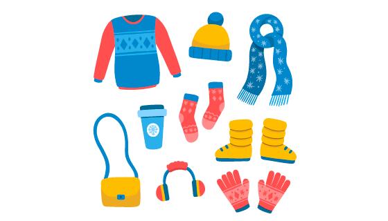 手绘简单的冬天衣物矢量素材(AI/EPS/PNG)