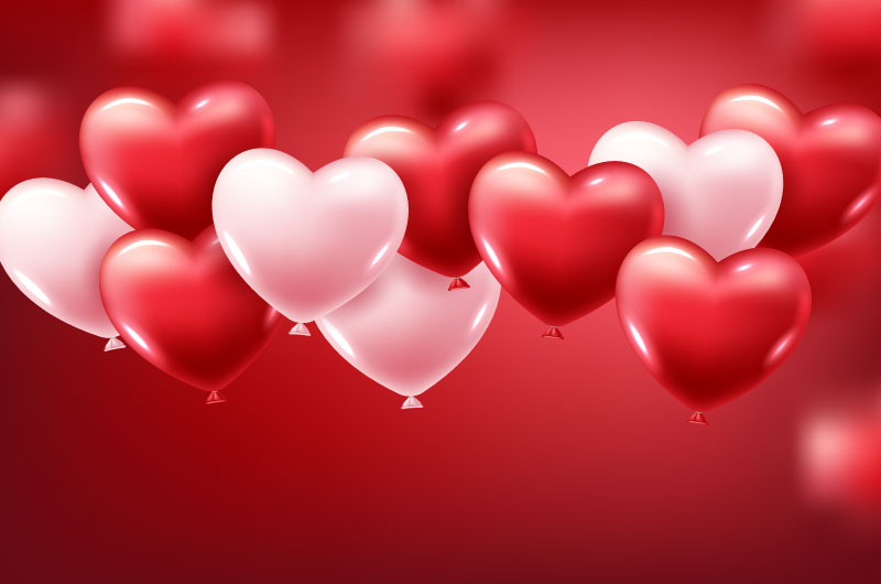逼真的粉色红色爱心气球矢量素材(EPS)