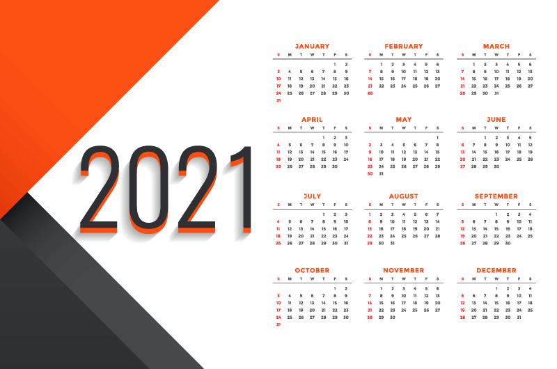 现代商务风格2021年日历矢量素材(EPS)