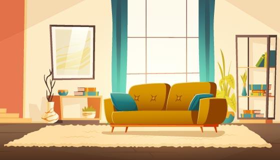 现代风格的客厅矢量素材(EPS)