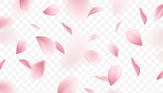 粉红色樱花花瓣矢量素材(EPS)