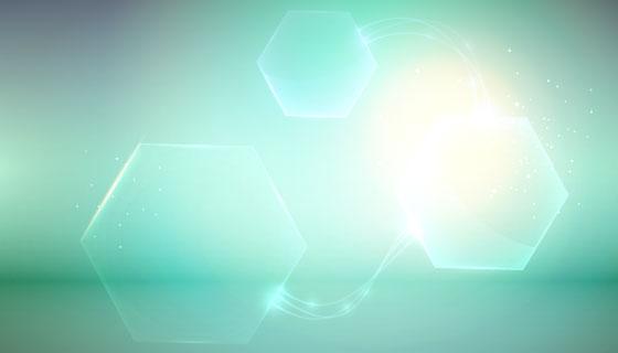 绿色六边形创意抽象背景矢量素材(EPS)