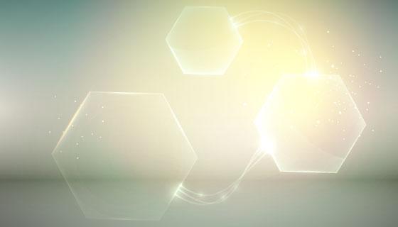 浅橙色六边形创意抽象背景矢量素材(EPS)