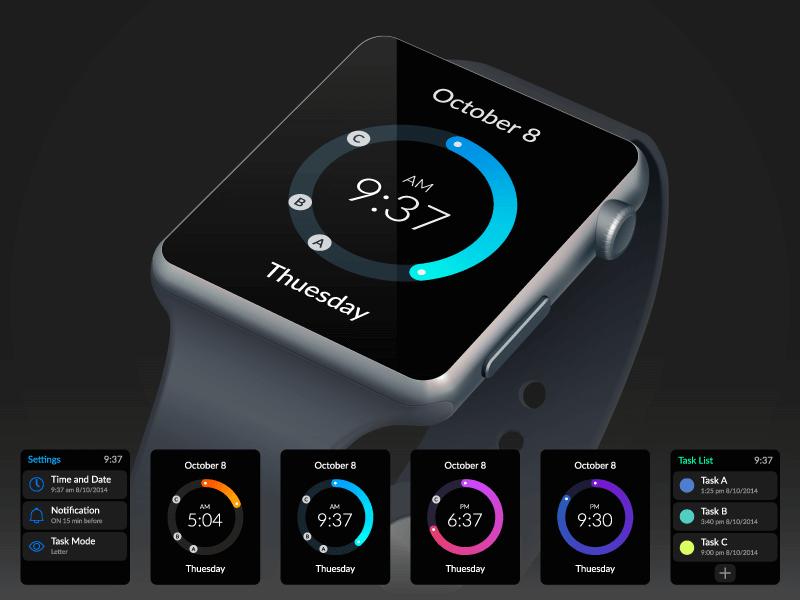 智能手表ui界面矢量素材(EPS)