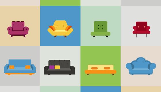 16个沙发图标矢量素材(EPS)