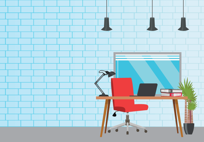 现代风格的办公工位矢量素材(EPS)