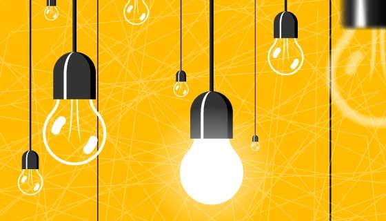 吊着的发光的灯泡矢量素材(EPS)