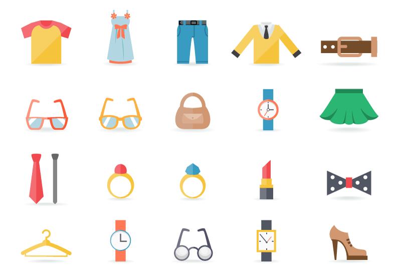 20个服装和配饰图标矢量素材(EPS/免扣PNG)