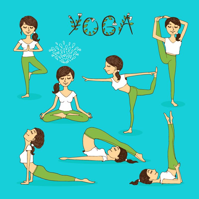 练瑜伽的女子矢量素材(EPS/免扣PNG)