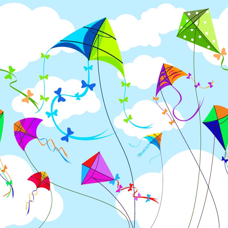 天空中飘着的多彩风筝矢量素材(EPS)