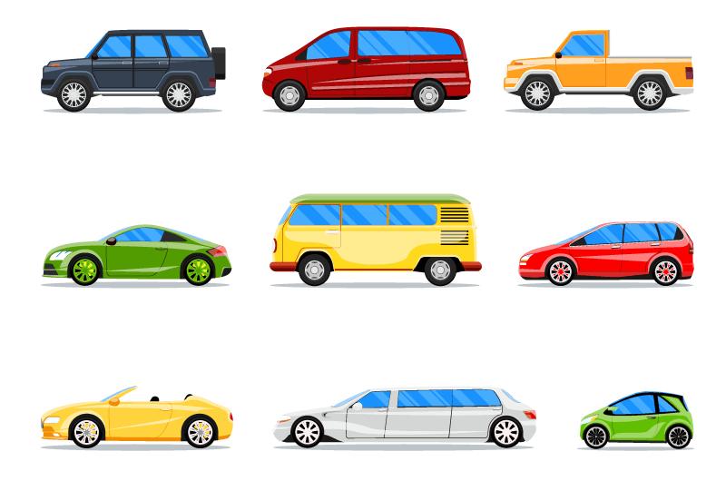 9种不同的车辆矢量素材(EPS/免扣PNG)