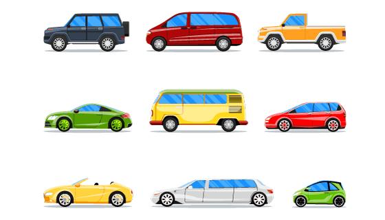 9种不同的车辆矢量素材(EPS/PNG)