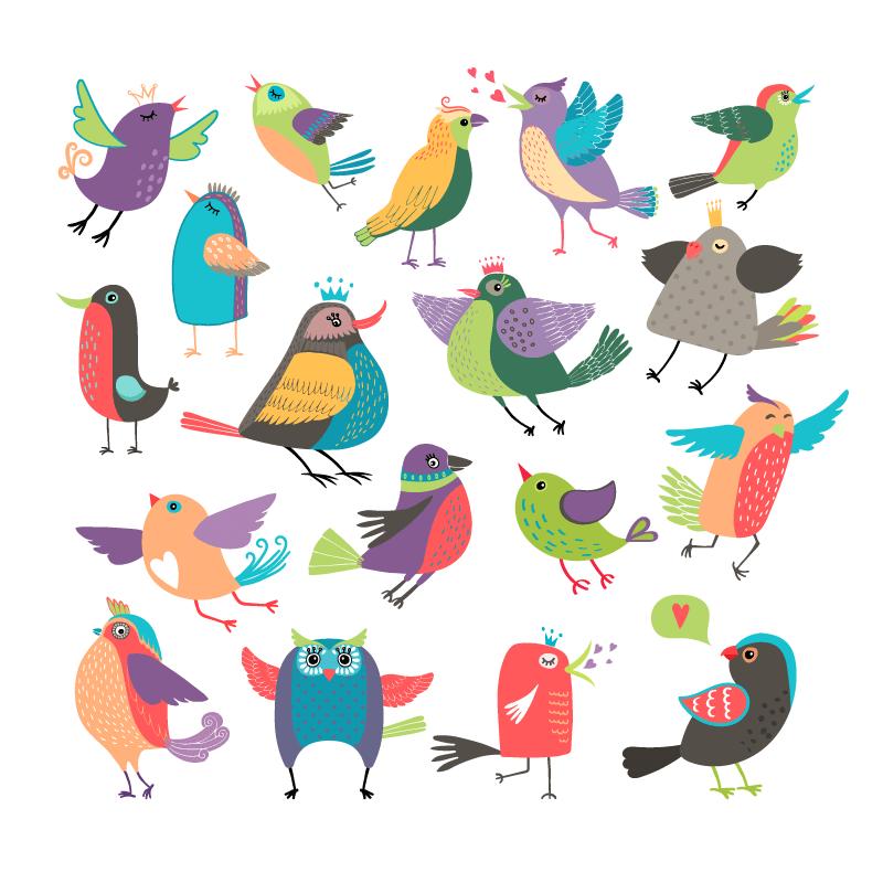 卡通风格可爱的小鸟矢量素材(EPS/免扣PNG)