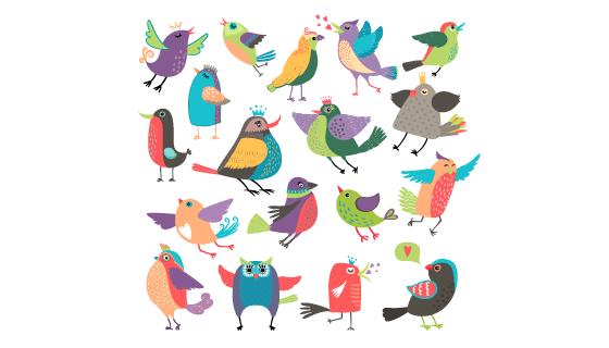 卡通风格可爱的小鸟矢量素材(EPS/PNG)