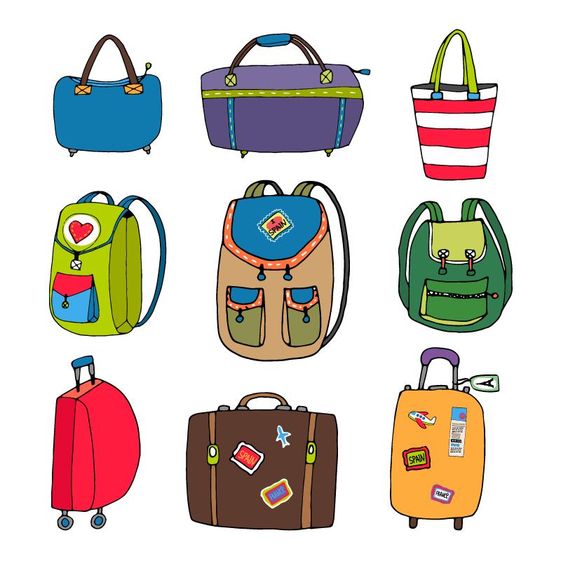 各种各样的行李箱背包手提包矢量素材(EPS/免扣PNG)