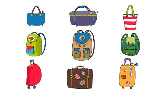 各种各样的行李箱背包手提包矢量素材(EPS/PNG)